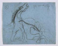 Estudio para el caballo (II). Dibujo preparatorio para «Guernica»