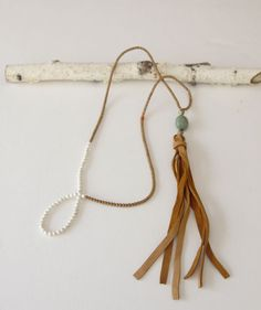 Handmade leather tassel necklace by SimplySofie on Etsy