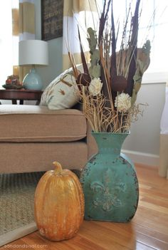 Fall Decorating with Copper and Blues #MyHarvestHome