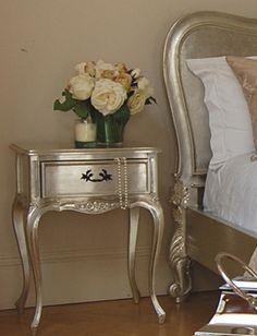 Silver Leaf Bedside Table