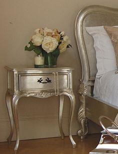 Silver Leaf Bedside Table