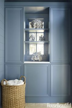 2018 Color Trends - Interior Designer Paint Color Predictions for 2018 - House Beautiful Blue Laundry Rooms, Laundry Room Cabinets, Mud Rooms, Bathroom Cabinets, Restoration Hardware Paint, Blue Shelves, Room Shelves, Atlanta Homes, Ship Lap Walls