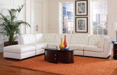 Quinn Contemporary White Bonded Leather Sectional