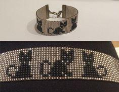 Black cat bracelet Loom beaded bracelet You can by TuTuStudio by rowena