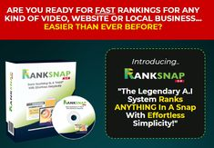 Ranksnap 3.0 Deluxe Review + OTO 1, OTO 2, OTO 3 - by Tom Yevsikov - Brand New Version A.I Pro System Ranks With Commercial License That Help You Rank Any Video, Website, And Any Local Business With The Help Of Citations In Maps, Google And Youtube In Just 4 Easy Step Seo Professional, Native Advertising, Seo Keywords, Online Income, Cloud Based, Blog Writing, Internet Marketing, The Help, Digital Marketing
