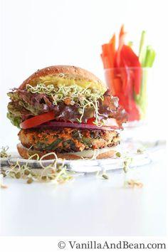Sweet Potato Veggie Burger Recipe | VanillaAndBean.com