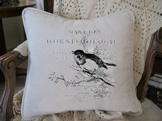 D Orinthologie Bird on French Script Vintage by nanaandmecreations, $30.00