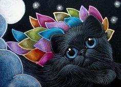 BLACK ANGEL KITTEN CAT RAINBOW WINGS 1ST FLY