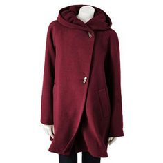 Croft & Barrow® Hooded Wool Walker Coat