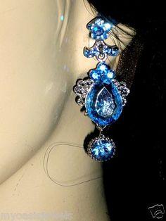 Rhinestone Austrian Crystals Chandelier Earrings Blue Bridal Pageant Jewelry