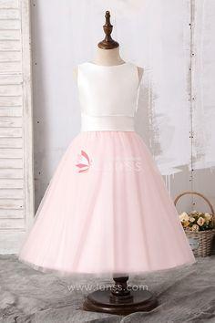 7eeb9fbb07c45 Cute Two-Tone Light Pink Tank Bodice Tea Length Flower Girl Dress. Lunss