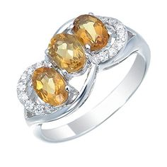 Sterling Silver Citrine 3 Stone Ring 1 CT In Size 7 >>> Check out this great product.Note:It is affiliate link to Amazon. #instagood