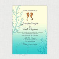 Seahorses - Tropical Beach Wedding - DIY printable invitation