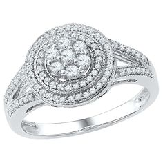 1/2 CT. T.W. Round Diamond Prong Set Fashion Ring in 10K White Gold