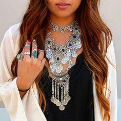Gypsy Beach Ethnic Collar Necklace by MadeByMiKiShop on Etsy