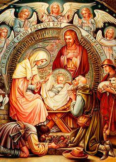 Nativity And Angels by Munir Alawi