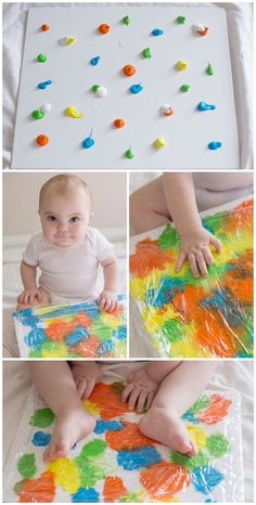 Baby sensory play for a 6 to 9 month old baby. Wrap cling wrap around a canvas and have the baby smoosh away with their hands and feet. So much fun and minimal mess.
