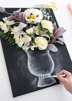 Valerie McKeehan shares chalk tips for illustrating a chalk art vase to create DIY 3-D flower wall art