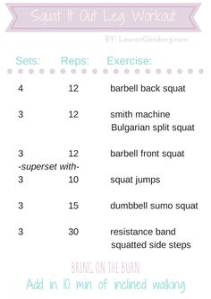 Squat Emphasized Leg Workout | LaurenGleisberg.com