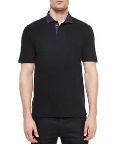 Chambray-Collar Short-Sleeve Polo Shirt, Black, Size: LARGE - Armani Collezioni
