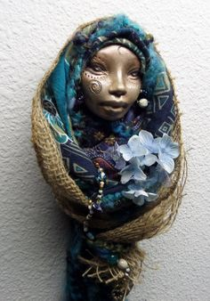 Blodeuwedd Welsh Goddess Art Doll Assemblage OOAK by awesomeart, $125.00