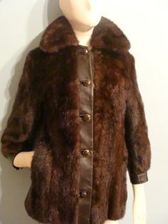 Vintage Brown Fur and Leather Jacket by VintageConnoisseur on Etsy, $270.00