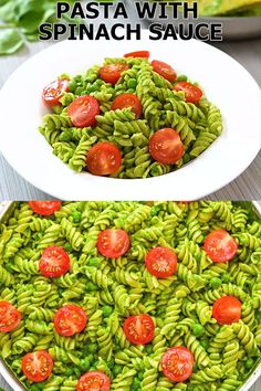 This healthy Pasta with Spinach Sauce is a super easy weeknight meal that will get your kids eating spinach! It is easy to make and tasty, so add this one to your recipe list! FOLLOW Cooktoria for more deliciousness! #pasta #dinner #lunch #vegetarian #vegan #plantbased #easyrecipe #recipeoftheday #cooktoria
