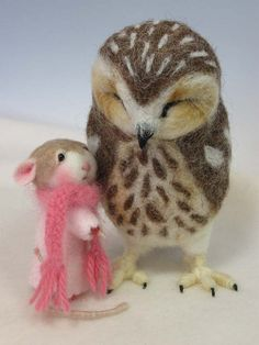 "Needle Felted ""Florence Mousingale"" Mouse by Barby Anderson / Wool Baby Saw Whet Owl By Helen Priem 