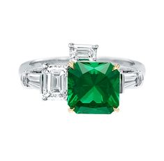Central Park by Harry Winston, Emerald and Diamond Ring, Central Park by Harry Winston, Emerald and Diamond Ring An emerald-cut emerald, 2.13 carats, set as a ring with 4 emerald-cut and tapered baguette diamonds weighing a total of 1.17 carats; platinum and 18K yellow gold setting.
