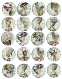 "Vintage Marie Antoinette 20 2"" 40 1"" round glossy coloful stickers you choose"