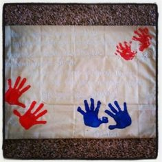 Send a pillow case with your familys hand prints for a deployment