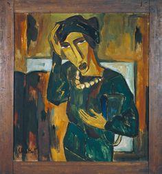 Karl Schmidt-Rottluff (German,1884 –1976) Woman with a Bag,1915. Карл Шмидт-Роттлуфф (немецкий, 1884 -1976) Женщина с сумкой, 1915 год. 卡尔·施密特 - 罗特福夫 (德语,1884年至1976年) 有袋的女人,1915年。