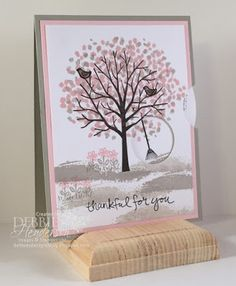 Viewmaster Card Fold using Stampin' Up! Sheltering Tree. Debbie Henderson, Debbie's Designs.