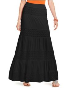 INC International Concepts Skirt, Crochet Tiered Maxi/$57