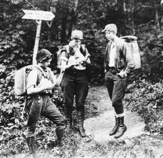 """Hilda Kurth, Catherine Robbins, and Kathleen Norris, aka """"The Three Musketeers"""". With 25 lb packs each, they hiked The Long Trail, from Massachusetts to Canada, a bold, daring, and completely unheard feat for women in the 1920s"""