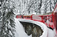 Rhäetian Railway, a scenic passenger train route that runs from Thusis, Switzerland to Tirano, Italy – passing overlooked alpine villages, archaeological excavations and majestic mountain-perched castles along the way. Davos, Albania, Westerns, Montenegro, Train Route, Train Journey, Swiss Alps, Train Rides, Train Travel