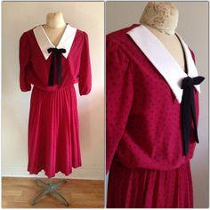 4778c0d482b Vintage 1980s Red Peter Pan Collar Dress    extra extra large