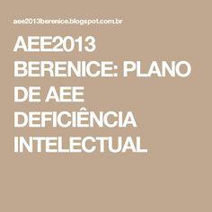 AEE2013 BERENICE:          PLANO DE AEE DEFICIÊNCIA INTELECTUAL