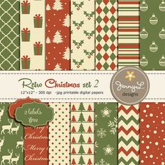 Retro Christmas Christmas Digital Paper by JennyLDesignsShop