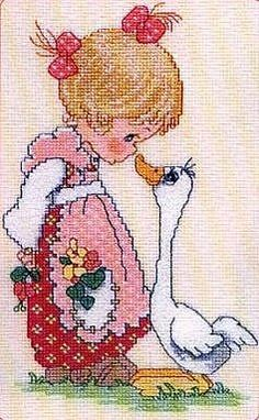 Girl w goose cross stitch Cross Stitch For Kids, Cute Cross Stitch, Cross Stitch Charts, Cross Stitch Designs, Cross Stitch Patterns, Ribbon Embroidery, Cross Stitch Embroidery, Embroidery Patterns, Cross Stitching