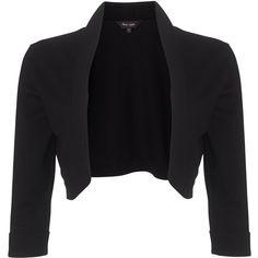 Phase Eight Shawl Collar Bolero, Black ($43) ❤ liked on Polyvore featuring outerwear, jackets, cardigans, blazers, tops, three quarter sleeve blazer, bolero blazer, cropped blazer jacket, open front blazer and cropped bolero jacket