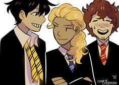 Percy Jackson, Annabeth Chase, Grover Underwood<<I feel like Percy and Grover would be switched like Percy is griffendor not grover