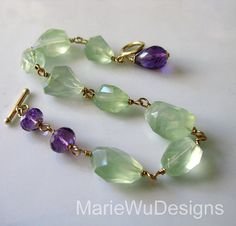 Glowing Prehnite Nugget-Purple Amethyst Gold Fill Toggle Bracelet with Charm on Etsy, $219.00