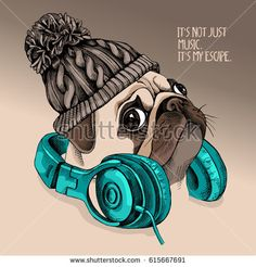 Portrait of a Pug puppy in a knitted hipster hat with a headphones on the neck. Vector illustration.