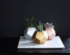 Handcrafted Concrete Design by mindtheminimal on Etsy Concrete Bowl, Concrete Planters, Flower Vases, Flower Pots, Beton Diy, Cactus Decor, Succulents In Containers, Modern Planters, Concrete Design