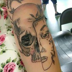 Skull with mask tattoo done by Edric. At Double Cross Tattoo (Fort Lauderdale)  #tattoos #piercings #tatuajes #prterphotelo #tattz #tatted #inked #inkmaster #miamiink #followme #bestink #tattooshow #customtattoo #instafollow #ink #bodyart #thebesttattoo #toptattoos #southfloridatatattoo #fortlauderdale #browardcounty #likeit #shareit #repost follow: @edricdoublecross