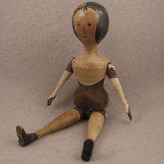 """12"""" Vintage Jointed Wooden Doll"""