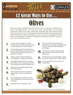 Olives are a big part of the Mediterranean Diet - on their own or as an ingredient in salads sauces or stews.  Check out Oldways 12 Great Ways to use Olives!