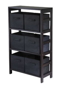 Capri 3-Section M Storage Shelf with 6 Foldable Black Fabric Baskets