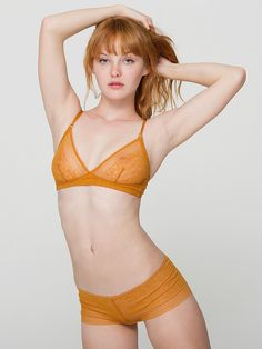 81171164868 American Apparel - Abstract Lace Bralette Redhead Models